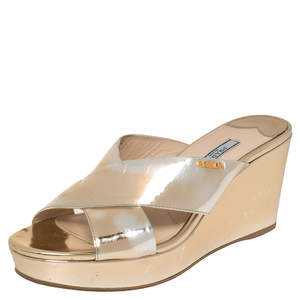 Prada Gold Foil Leather Cross Strap Wedge Sandals Size 39