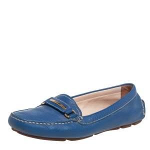 حذاء لوفرز برادا سليب أون جلد أزرق مقاس 36.5