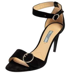 Prada Black Suede Ankle Strap Sandals Size 37.5