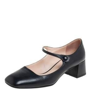 حذاء كعب عالي برادا ماري جين جلد أسود مقاس 34.5