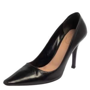 حذاء كعب عالي برادا مقدمة مدببة سليب أون جلد أسود مقاس 37.5