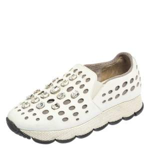 Prada White Laser Cut Leather Crystal Embellished Slip On Sneakers Size 37