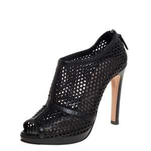 Prada Black Perforated Leather Peep Toe Booties Size 36