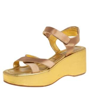 Prada Gold Leather Strappy Wedge Sandals Size 39