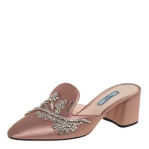 حذاء سلايد برادا مزخرف كريستال مقدمة مدببة ساتان بيج مقاس 39