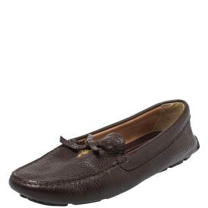 Prada Brown Leather Bow Slip On Loafers Size 40