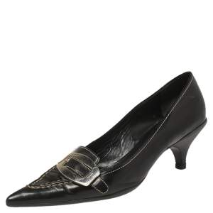 Prada Black Leather Buckle Pointed Toe Pumps Size 38.5