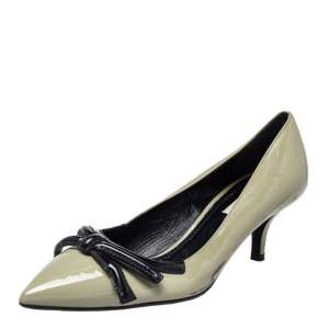 Prada Olive Green Patent Leather Pointed Toe Pumps Size 38