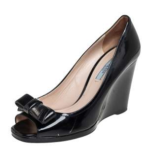 Prada Black Patent Peep-Toe Bow Detail Wedge Pumps Size 39.5