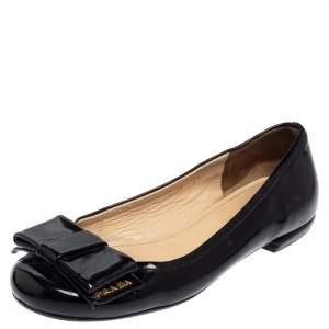 Prada Black Patent Leather Bow Ballet Flats Size 35