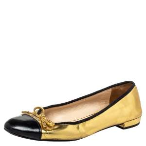 Prada Black/ Gold Patent Leather And Fabric Bow Cap Toe Ballet Flats Size 38