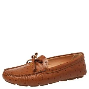 Prada Brown Ostrich Leather Slip on Loafers Size 38