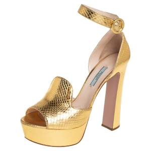 Prada Metallic Gold Python Embossed Leather Platform Ankle Strap Sandals Size 38.5