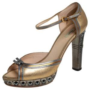 Prada Gold/Silver Leather Ankle Strap Sandals Size 39
