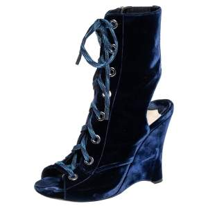 Prada Blue Velvet Open Toe Wedge Lace Up Cut Out Ankle Boots Size 39.5