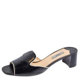 Prada Black Patent Leather Block Heel Slides Sandals Size 41