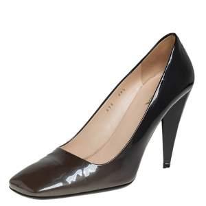 Prada Metallic Olive Green/Black Patent Leather Block Heel Pumps Size 39.5