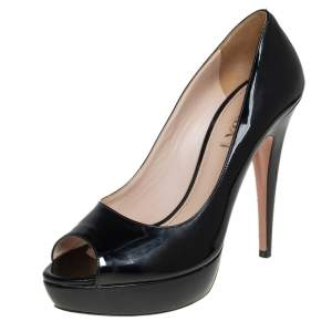 Prada Black Patent Leather Peep Toe Platform Pumps Size 40