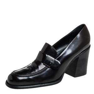 Prada Brown  Patent Leather Loafer Pumps Size 40