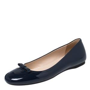 Prada Dark Blue Patent Leather Bow Accents Ballet Flats Size 38