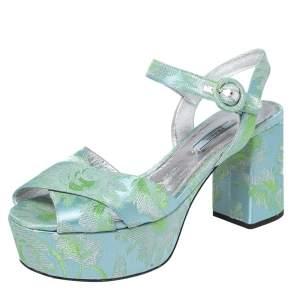 Prada Green/Blue Brocade Fabric Platform Ankle Strap Sandals Size 39