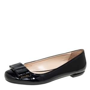 Prada Black Patent Leather Bow Ballet Flats Size 41