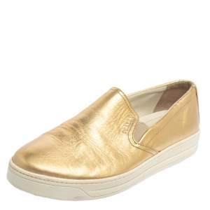 Prada Gold Leather Slip on  Sneakers Size 40
