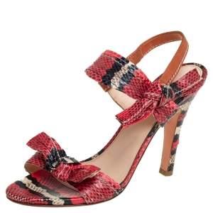 Prada Red/Black Python Embossed Leather Bow Slingback Sandals 38.5