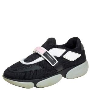 Prada Black Mesh And Leather Velcro Strap Low Top Sneakers Size 36