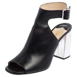 Prada Black Leather Block Heel Peep Toe Ankle Strap Sandals Size 38
