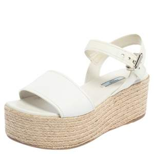 Prada White Leather Espadrille Platform Sandals Size 38