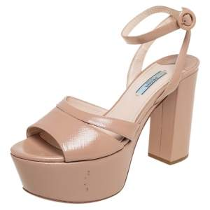 Prada Beige Patent Leather Open Toe Ankle Strap Platform Sandals Size 39