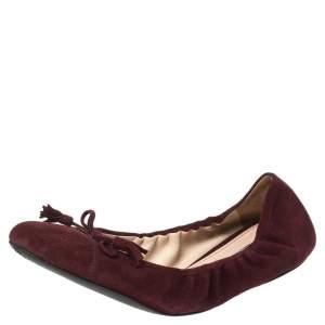 Prada Burgundy Suede Tassel Bow Scrunch Ballet Flats Size 40