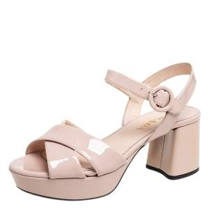 Prada Beige Patent Leather Criss Cross Platform Ankle Strap Sandals Size 35