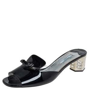 Prada Black Patent Leather Crystal Embellished Block Heel Slide Sandals Size 40