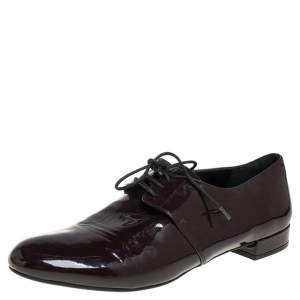 Prada Burgundy Patent Leather Oxfords Size 38.5