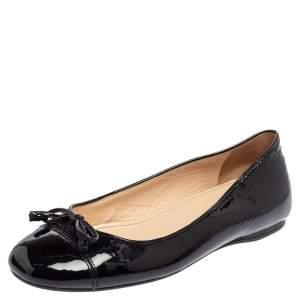 Prada Black Patent Leather Bow Cap Toe Ballet Flats Size 35.5