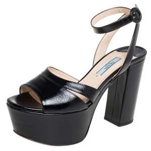 Prada Black Patent Saffiano Leather Platform Block Heel Ankle Strap Sandals Size 36