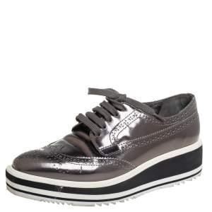 Prada Metallic Grey Brogue Leather Platform Lace Up Derby Size 36