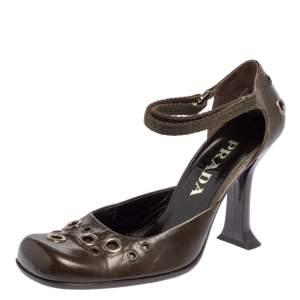 Prada Green Leather Embellished Ankle Strap Sandals Size 37