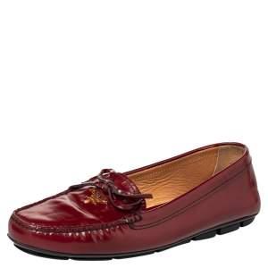 Prada Red Leather Bow Logo Embellished Slip On Loafers Size 39.5