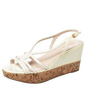 Prada Cream Patent Leather Cork Wedge Platform Slingback Sandals Size 41