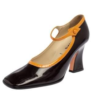 Prada Brown Patent Leather Mary Jane Block Heel Pumps Size 38.5