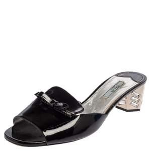 Prada Black Patent Leather Bow Slide Sandals Size 39.5