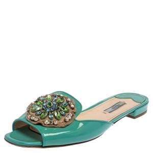 Prada Turquoise Blue Patent Leather Crystal Embellished Flats Size 39.5
