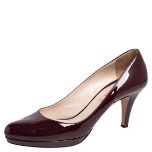 Prada Dark Brown Patent Leather Platform Pumps Size 39