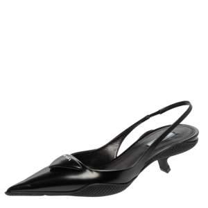 Prada Black Leather Triangle Logo Kitten Heel Slingback Sandals Size 40