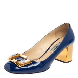 Prada Blue Patent Leather Crystal Buckle Block Heel Pumps Size 36