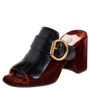 حذاء سلايد برادا جلد وقطيفة أسود/بني مقاس 38.5