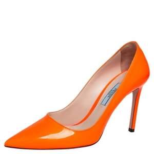 Prada Orange Patent Leather Pointed Toe Pumps Size 36.5